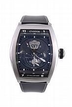Cvstos, Challenge Twin-Time, ref. 085/200-01 ST, a stainless steel wristwatch
