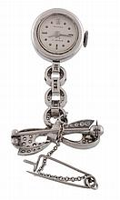 Bucherer, a platinum and diamond bow fob watch, circa 1950