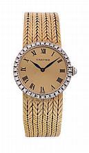 Cartier, ref. 37236, a lady's 18 carat gold and diamond bracelet wristwatch, no