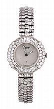 Chopard, a lady's 18 carat white gold and diamond quartz bracelet watch