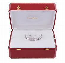 Cartier, Lanieres, ref. 2544, a lady's 18 carat white gold and diamond bracelet wristwatch,
