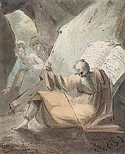William Hamilton (1751-1801) - Thomas Gray's The Bard (?); Bearded scholar with book in cave,