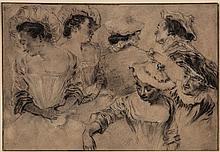 Circle of Jean-Antoine Watteau - Head studies of a woman and man,