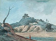 English School (19th Century) - South Indian (?) landscape with solitary figure,