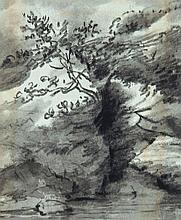 Dr. Thomas Monro (1759-1833) - Tree over a pool; Landscape with house and figures; Cliff over water,