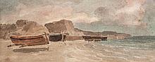 F. L. T. Francia (1772-1839) - Boats on rocky shore,
