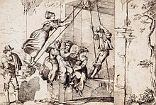 Circle of Bartolomeo Pinelli - The swing,