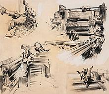 Terence Cuneo (1907-1996) - Engineering vignettes,