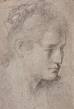 Bolognese School (18th Century) - Head study of a woman (recto); study of legs and foot (verso)