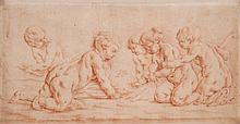 Flemish School (18th Century) - A group of five putti preparing a fire,