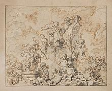Attributed to Louis-Félix de La Rue - Putti playing with grapes and decorating an armless bust of bacchus,