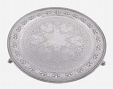 A Victorian silver circular salver by William & Henry Stratford, Sheffield 1869