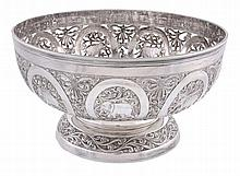 An Indian silver coloured hemispherical footed bowl, stamped STR