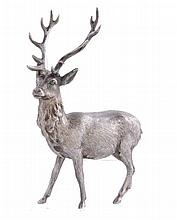 A silver model of a stag by SMD Castings, London 1972, standing, 15cm high