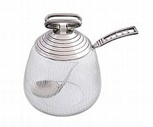 A Danish silver lidded glass preserve pot and spoon by F