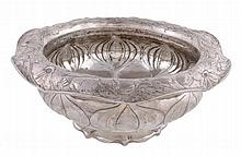 An American Art Nouveau Martele footed bowl by Gorham Manufacturing Co