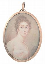 Diana Hill Portrait of a lady, in a plain white dress Watercolour on ivory...