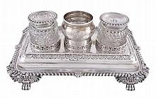 A George IV silver rectangular inkstand by Joseph Angell I, London 1822