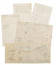 Autograph technical notes with drawings, 12 sheets, v.s., in pencil, n.d