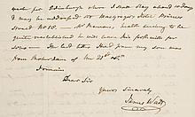 Autograph Letter signed to William Creighton, Soho, Birmingham, 1½pp