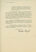 Typed Letter signed to J.F. Victory, The National Aeronautic Association