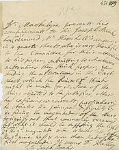 Autograph Letter third person to Sir Joseph Banks as President of the Royal...