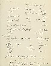 ] [Mathematical notes, pen and ink diagrams and a sketch portrait of a man]
