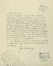 Autograph Letter signed to Henry Prunières, 1p