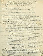 Long Autograph Letter signed to Schott Music publisher's, of Mainz, 3½pp