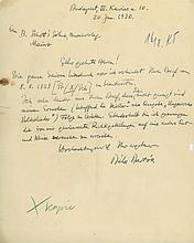 Autograph Letter signed to Schott Music publisher's, of Mainnz, 1p