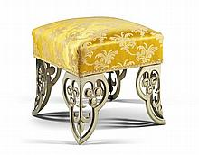A Silk Covered Brass Foot Stool