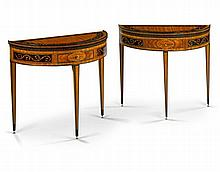 A Pair of Dutch Demi Lune Side Tables