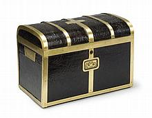 A Brass Bound Leather Casket By Thomas Handford