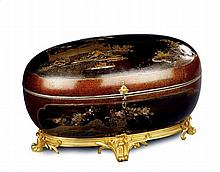 A Japanese Oval Lacquer Casket