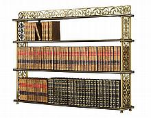 A Pair of William IV Brass and Ebonised Wood Hanging Shelves