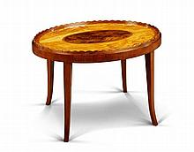 A Satinwood and Mahogany Tray Table