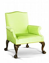 A Large Scale George II Mahogany Library Armchair