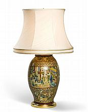 A Chinoiserie Terracotta Vase mounted as a lamp