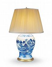 A Blue & White Chinese Vase Now Mounted as a Lamp