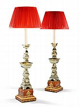 A Pair of Chinese Pricket Candlesticks Mounted as Lamps