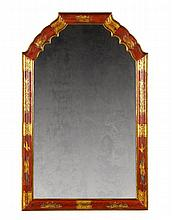 An Early 18th Century Red Japanned Mirror