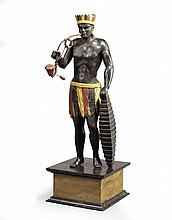 An Unusual Carved Wood and Polychrome Model of A Native American