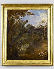 Attr - Attributed to Jean-Baptiste Coste (Fl.1777-1809) Extensive Landscape with Figures