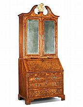 A George I Walnut Bureau Bookcase