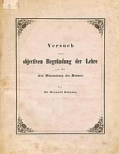 Bolzano (Bernard) - Versuch Einer Objectiven Begründung der Lehre von den drei Dimensionen des Raumes,