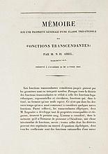 Abel (Niels Henrik) - Mémoire sur une Propriété Générale d'une Classe Trés-Étendue de Fonctions Transcendantes,