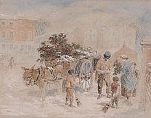 Myles Birket Foster (1825-1899) - The Christmas Holly Cart