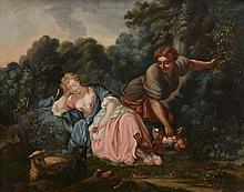 Manner of François Boucher (1703-1770) - Sleeping maiden in a woodland landscape