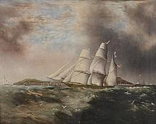 Samual Walters (1811-1882) - Barque heading out off Anglesea in choppy seas