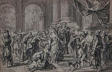 Circle of Benjamin West (1738-1820) - Coronation of Marie de' Medici in St. Denis; [?] Medea Learning of her divorce
